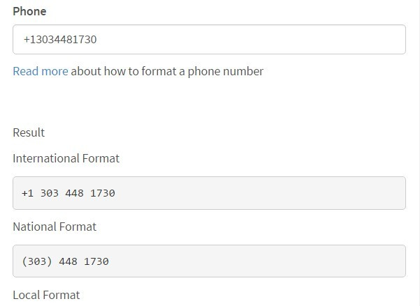 international telephone number format