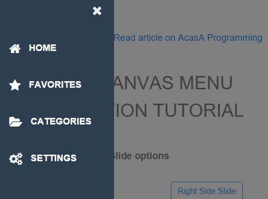 Html Css Only Off Canvas Slide And Push Navigation Css