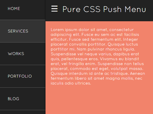 Off-canvas Push Menu In Pure HTML / CSS