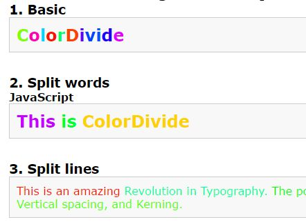JavaScript Plugin To Colorize Letters, Words And Lines – ColorDivideJS