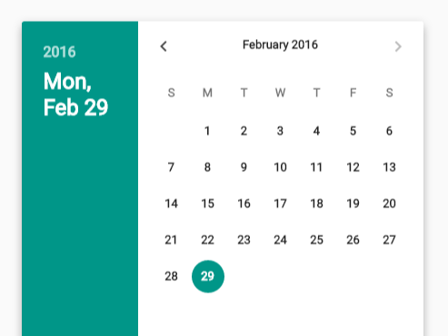 Material design date time picker in vanilla javascript for Material design table css