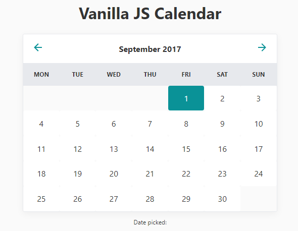 Table Calendar Jquery : Minimal inline calendar date picker in vanilla javascript