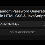 Random Password Generator In JavaScript